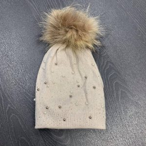 Beige Stud and Pearl Hat with Faux Fur Pom Pom