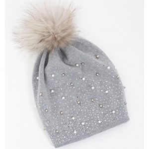 Grey Stud and Pearl Hat with Faux Fur Pom Pom