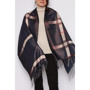 Navy Metallic check scarf