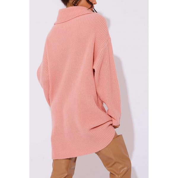 Pink Poloneck Jumper Dress