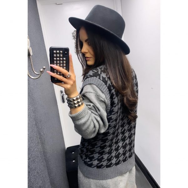 Black and Grey Houndstooth Sweater Vest