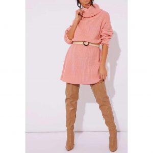Pink Poloneck Jumper Dress