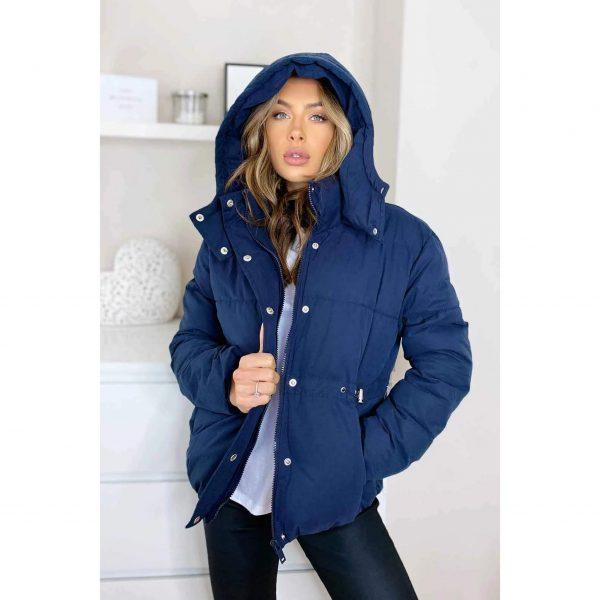 Navy Hooded Puffa Jacket