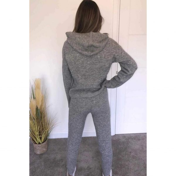 Grey Knit Ribbed Loungesuit