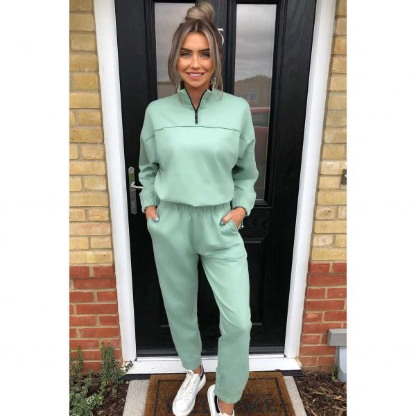 Sage Green Zip neck lounge suit