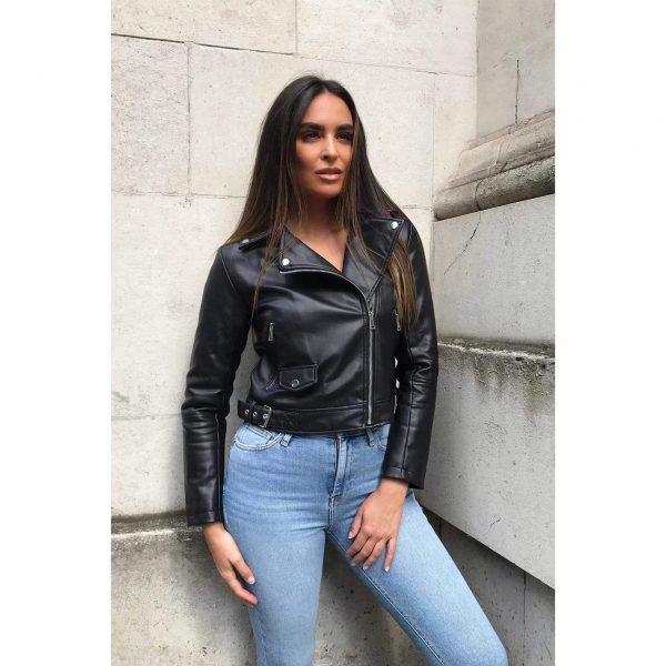 Black Faux Leather Biker Jacket