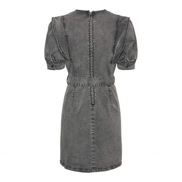 Grey Denim Frill Shoulder Dress