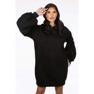Black Ruched Sleeve Longline Hoody