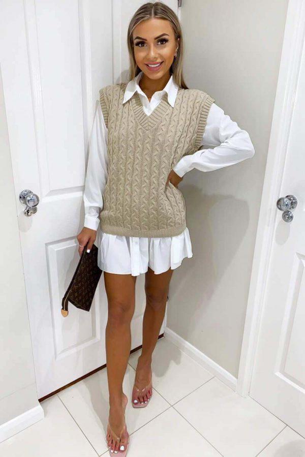Beige Cable Knit Sweater Vest