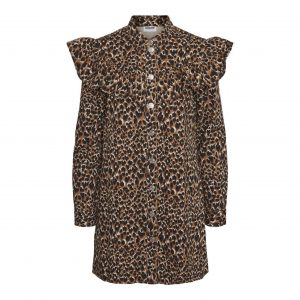 Leopard Denim Frill Shoulder Dress