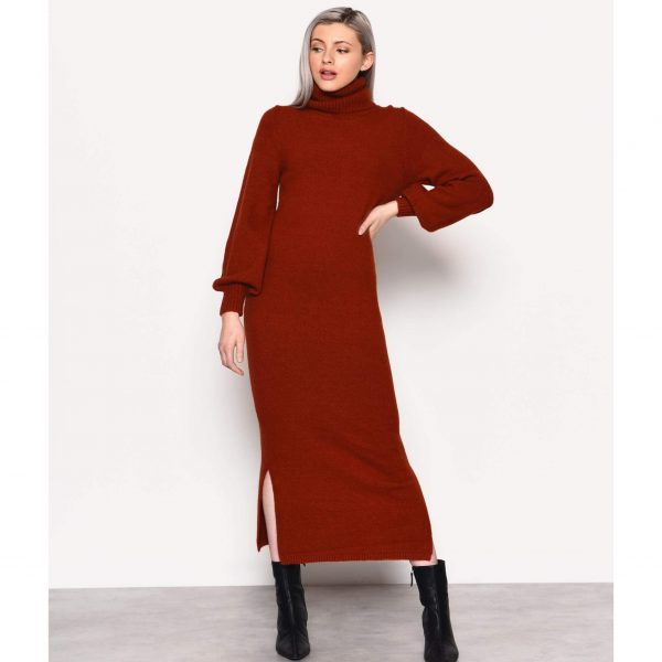 Rust Knit Midi Jumper Dress