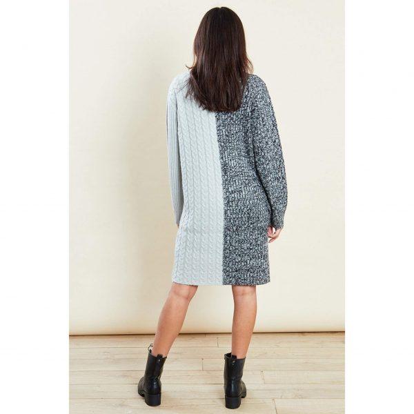 Grey and Blue Knit Jumper Dress