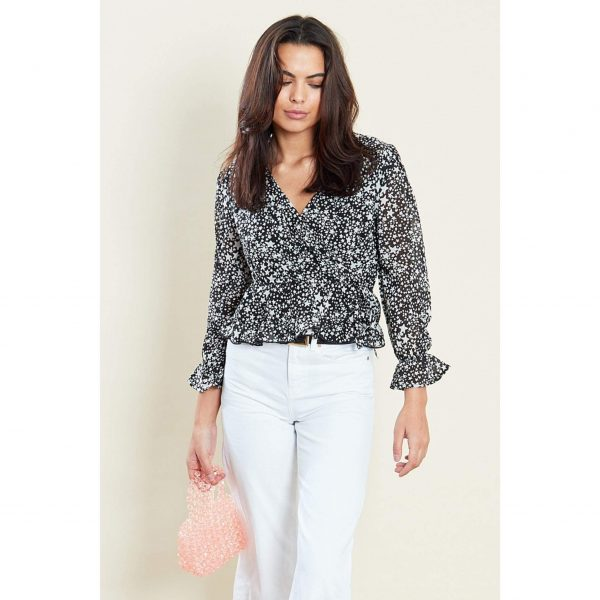 Black and White Star Print Top