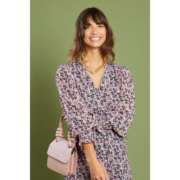 Pink Floral Puff Sleeve Wrap Dress