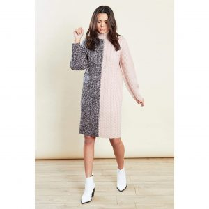 Grey and Pink Knit Jumper Dress