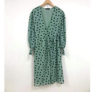 Mint Green Polka Dot Wrap Dress