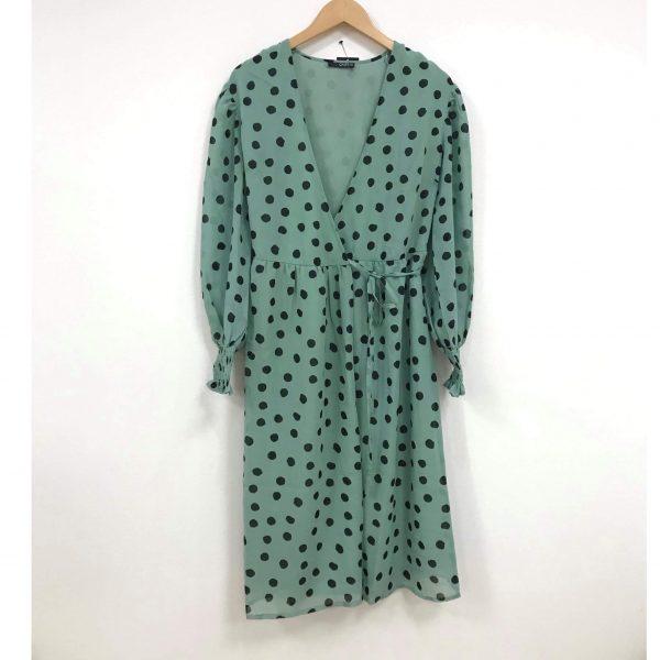 Mint Green Polka Dot Wrap Dress
