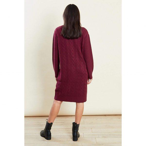 Burgundy Knit Jumper Dress