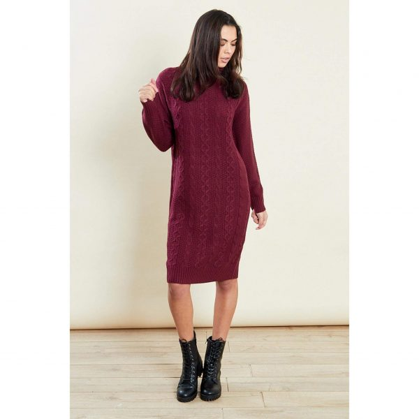 Burgundy Knit Jumper Dress
