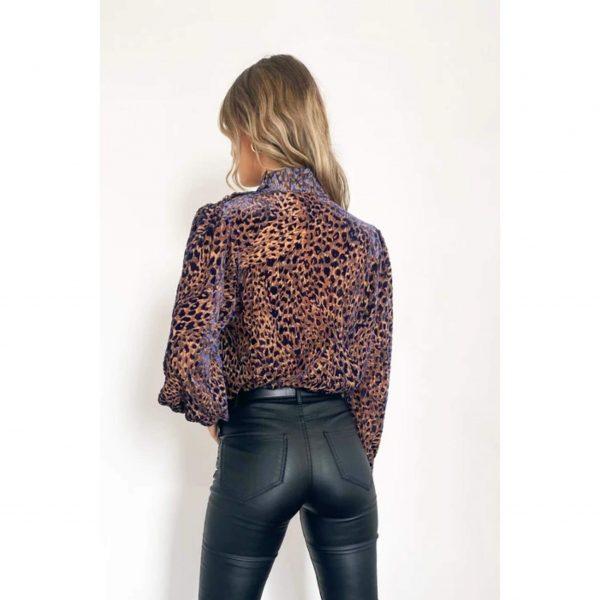 Blue Velvet Leopard Blouse