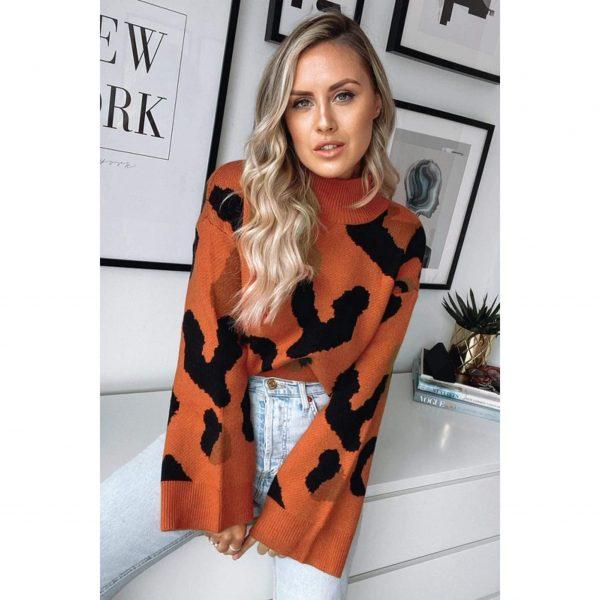 Orange Leopard Knit Wide Sleeve Jumper