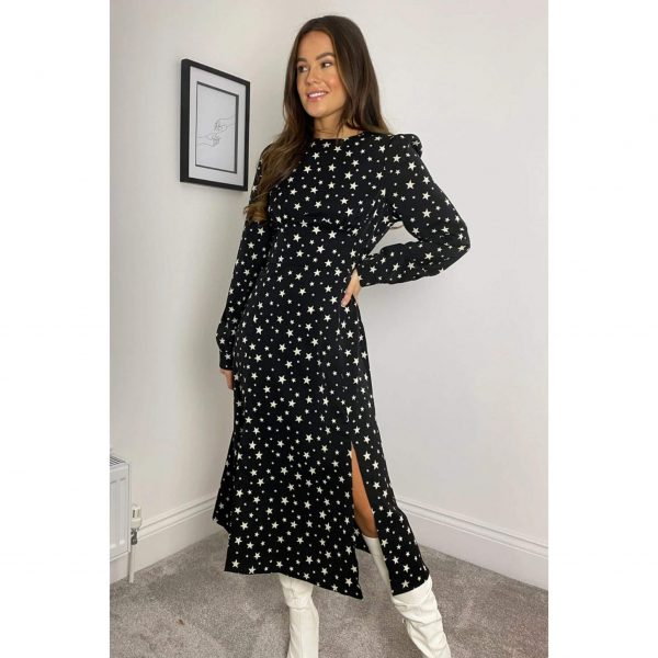 Black and White Star Print Split Leg Midi Dress
