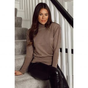 Beige Padded Shoulder Button Detail Roll Neck