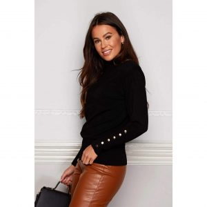 Black Padded Shoulder Button Detail Roll Neck