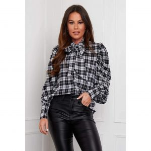 Scarlett Puff Sleeve Pussy Bow Blouse Black and White