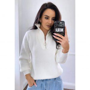 Cream Zip Neck Sweater