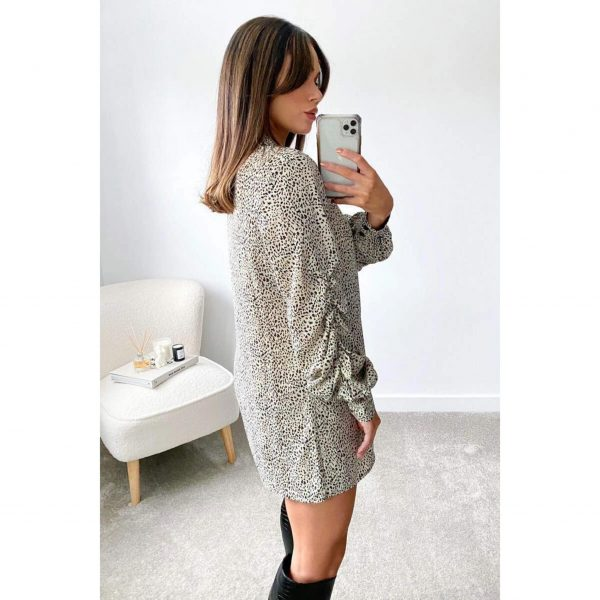 Snow Leopard print long Shirt with Gathered Sleeve