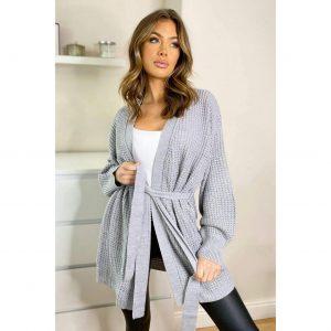 Grey Tie Waist Knit Cardigan