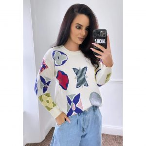 Cream and Blue Printed Jumper