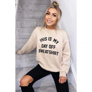 This is My Day Off Sweater in Beige