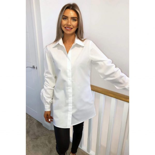 Long White Shirt with Gathered Sleeve