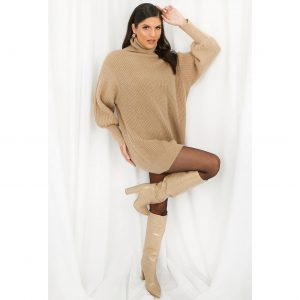 Taupe Long Poloneck Jumper