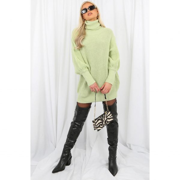 Lime Green Long Poloneck Jumper