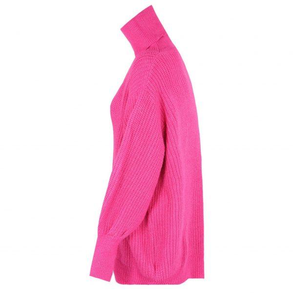 Cerise Pink Long Poloneck Jumper