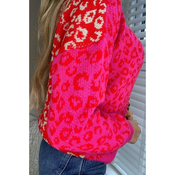 Red & Pink Leopard Print Cardigan