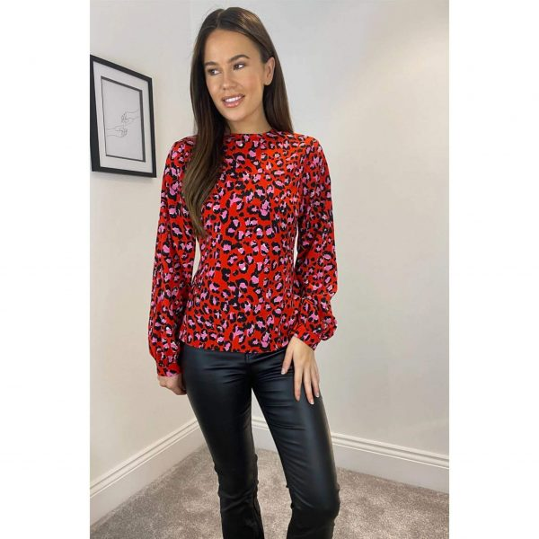 Red & Pink Leopard Top