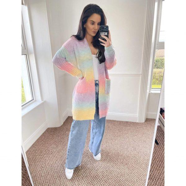 Rainbow Ombre Knit Midi Cardigan