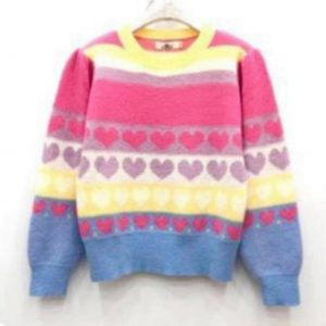 Love Heart Stripe Knit Jumper