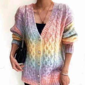 Cable Knit Rainbow cardigan