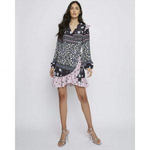 Black & Pink Floral Wrap Mini Dress