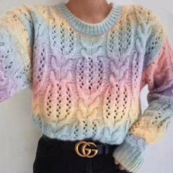 Cable Knit Rainbow Sweater