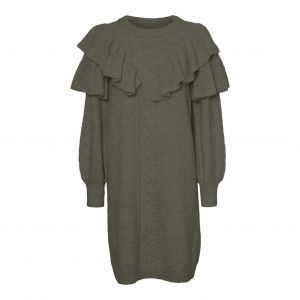 Frill Knit Jumper Dress Khaki