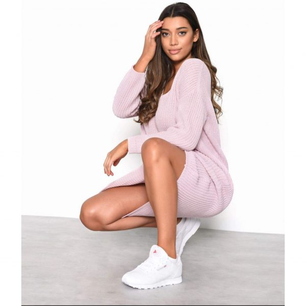 Light Pink Knit Oversized Jumper Dress