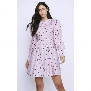 Pink Floral Ditsy Collared Smock Dress