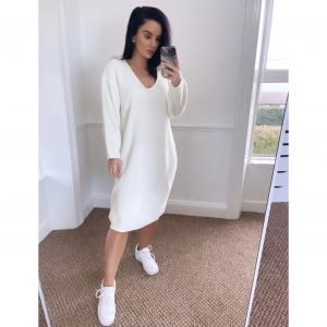 Cream Knit Oversized Jumper Dress