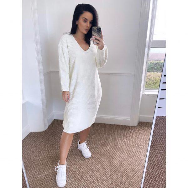 Cream Knit Oversized Jumper Dress